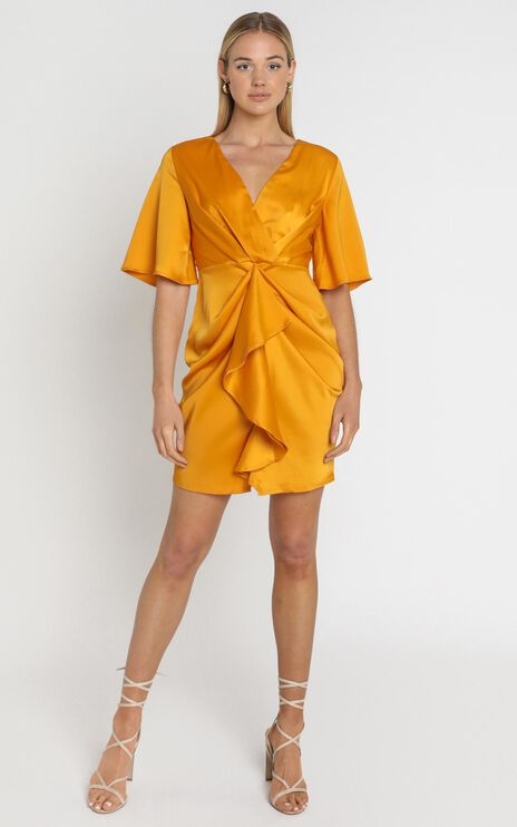 Spread Your Love Dress In Tangerine Satin