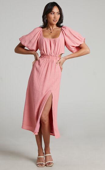 Pristina puff sleeve cut out midi dress in Coral