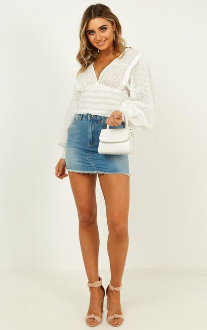 Born For This top in white embroidery - 8 (S), White, hi-res image number null