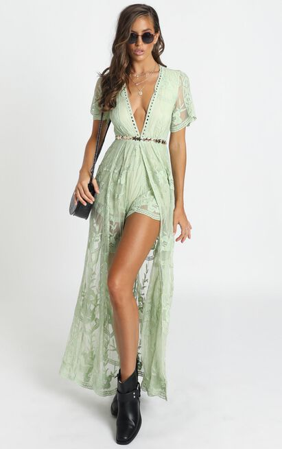 Now Shes Got It Playsuit in green lace - 20 (XXXXL), Green, hi-res image number null