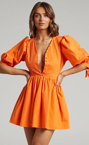 Zandra Puff Sleeve Poplin Mini Dress in Orange