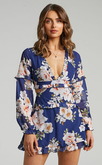Wait On The Dance Floor Dress in Royal Floral