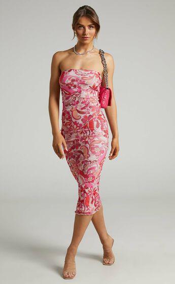 Brunetta Strapless Mesh Midi Dress in Love Child