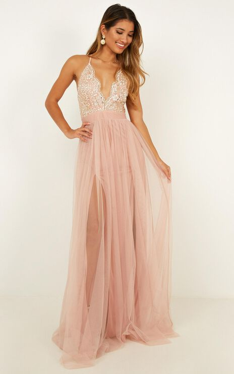 Vision Of Beauty Maxi Dress In Blush Glitter