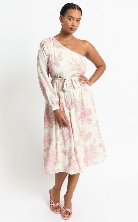 The Cerise Midi dress in Cream Floral
