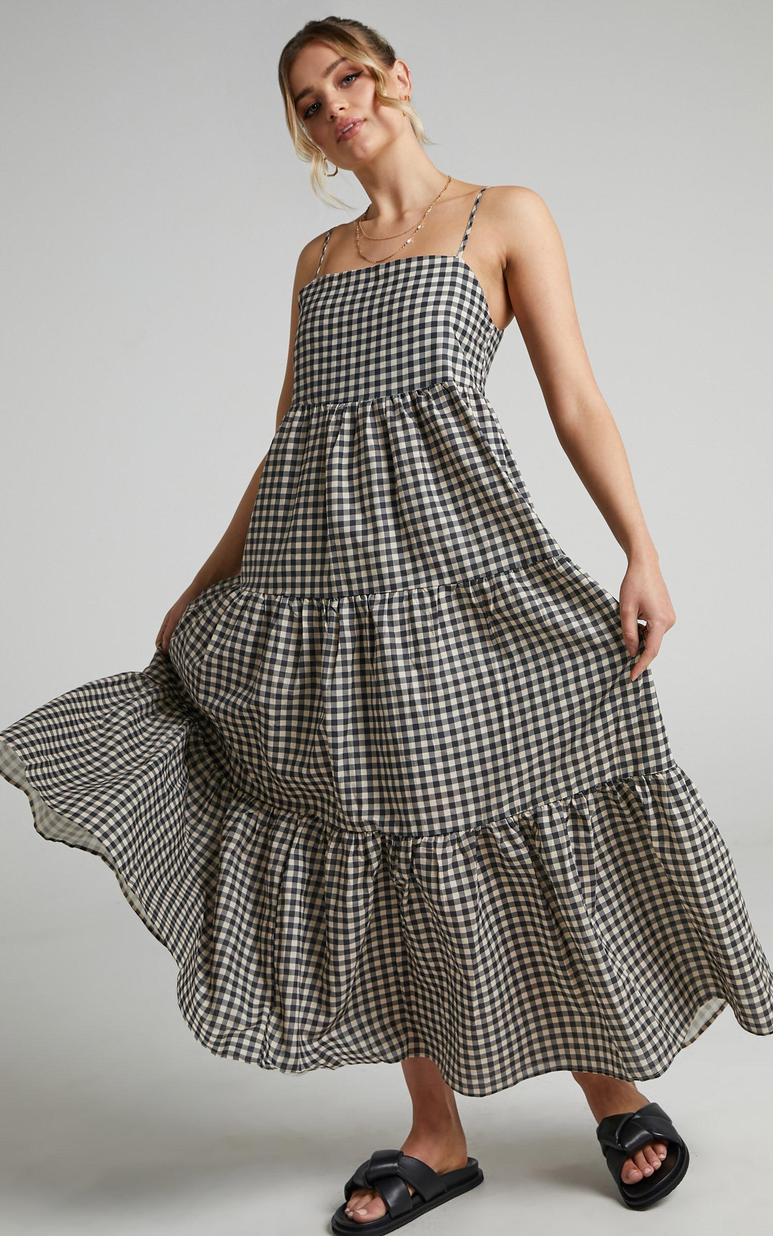 Charlie Holiday - Isabella Maxi Dress in Gingham - 06, BLK1, super-hi-res image number null