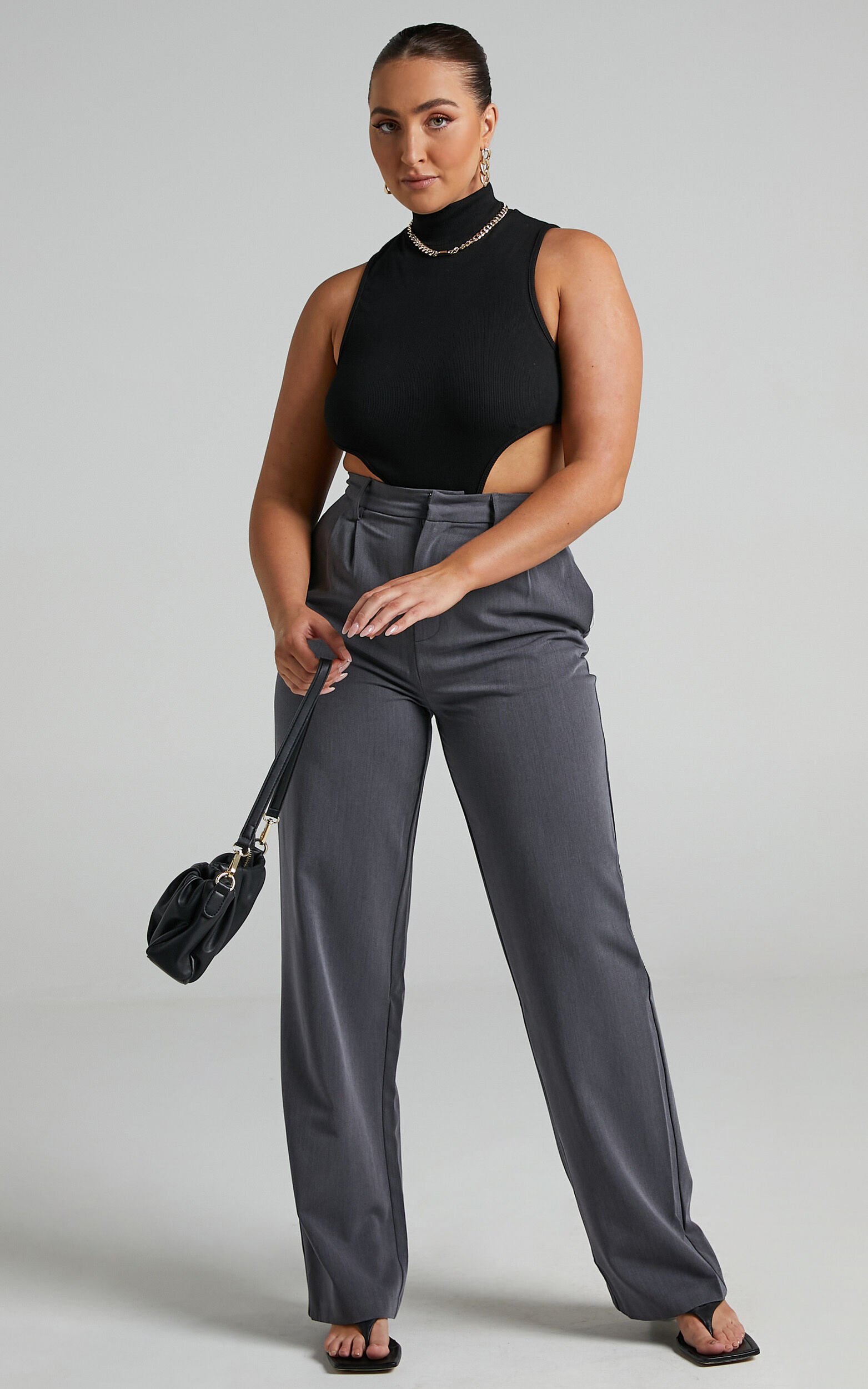 Lorcan High Waisted Tailored Pants in Charcoal - 04, GRY1, super-hi-res image number null
