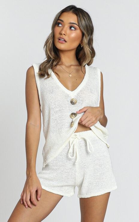 Katerina Knit Two Piece Set In White