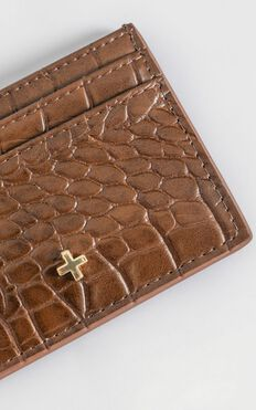 Peta and Jain - Izzy Card Holder in Chocolate Croc
