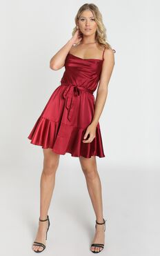 Like You Never Know Dress In Wine Satin