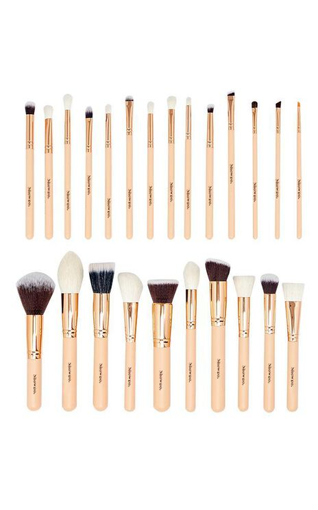 Showpo Exclusive Makeup Brush Set In Nude And Rose Gold-25pc