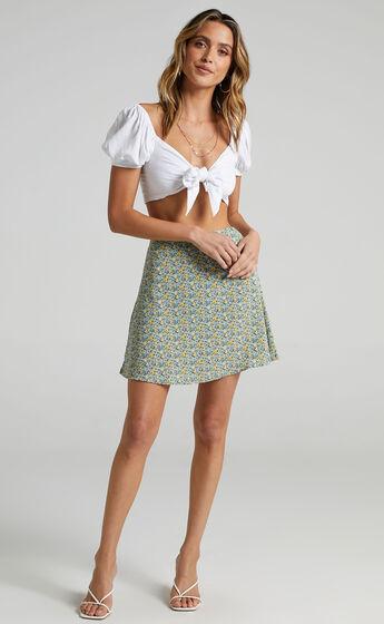 Running On My Own Skirt in Green Print