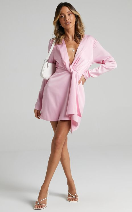 Stop Thinking About It Dress In Pink Satin