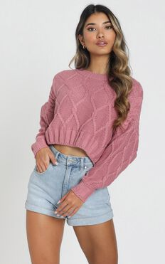 Chords of Glory Knit Jumper In Dusty Rose