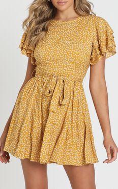 Little Thriller Dress in Mustard Floral