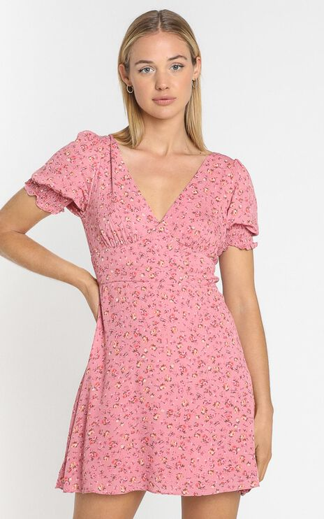 Feodora Dress in Pink Floral