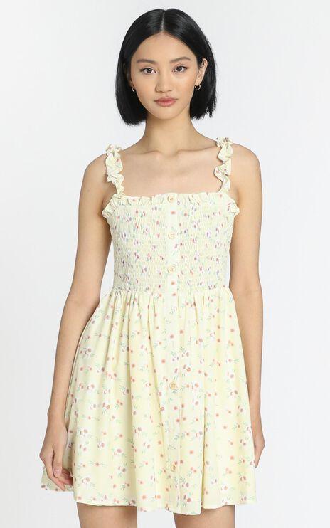 Summer Rain Mini Dress in Yellow Floral