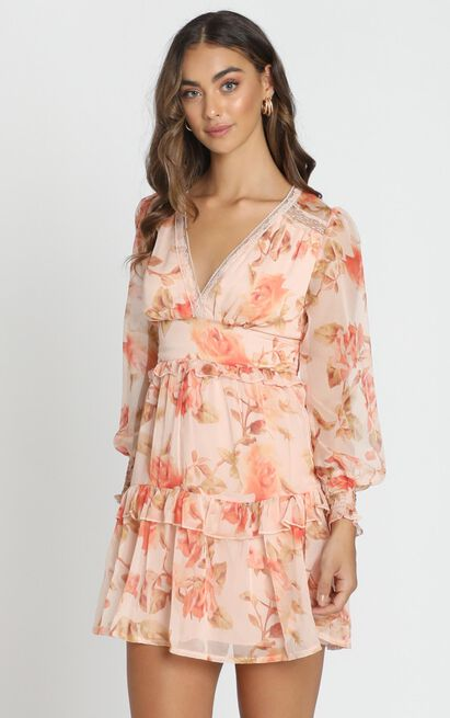 Lucy Dress in peach floral - 6 (XS), Pink, hi-res image number null