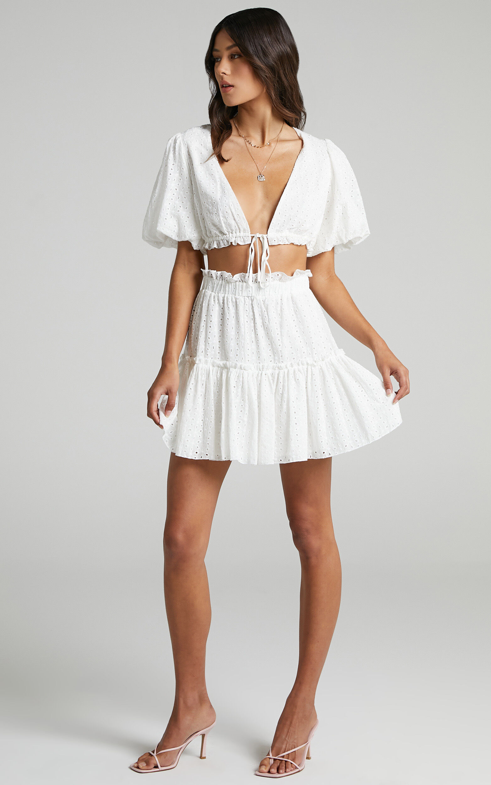 Mikayla Broderie Two Piece Set in White - 06, WHT1, super-hi-res image number null