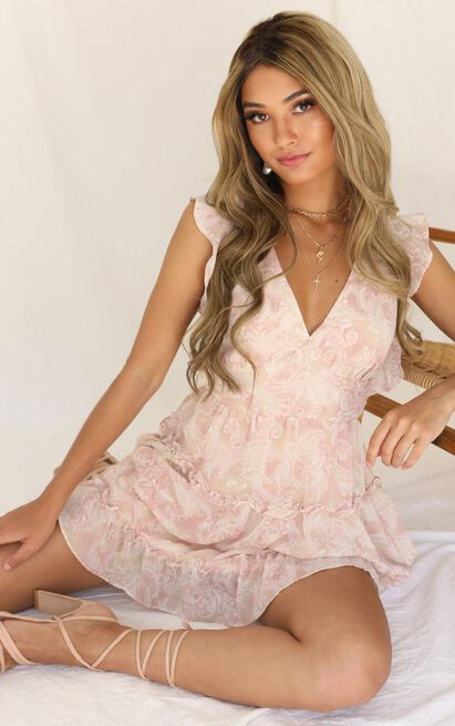 Cotton Candy Dress In Blush Floral - 16 (XXL), Blush, hi-res image number null