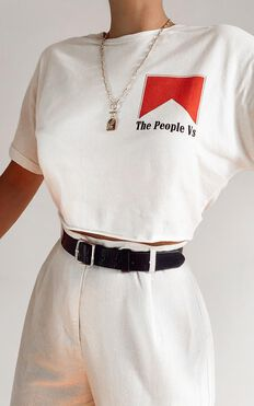 The People Vs - Smoker Crop Tee in White