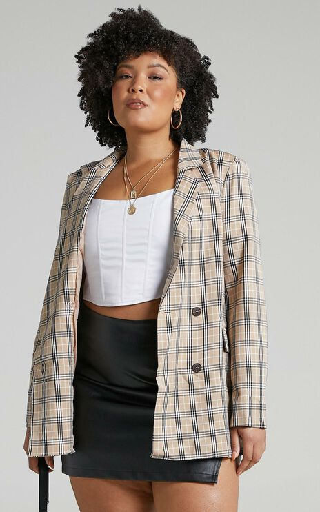 Sort It Out Blazer In Beige Check