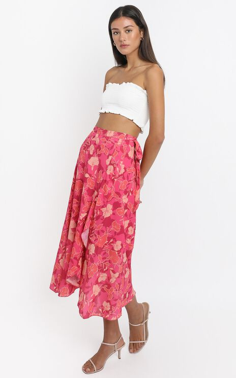 Add To The Mix Skirt  In Berry Floral