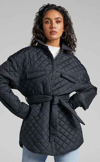 Adanna Quilted Button Up Jacket in Black