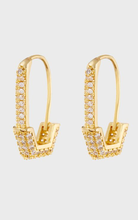 Luv Aj - Pave Hex Safety Pin Earrings in Gold