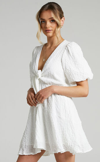 Rosalei Puff Sleeve Tie Front Mini Dress in White