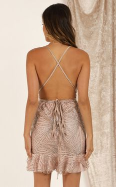 Dancing Through The Night Dress In Rose Gold Sequin