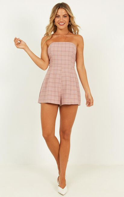 Whose To Blame Playsuit in blush plaid - 20 (XXXXL), Blush, hi-res image number null