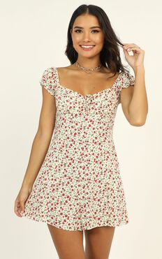 She's So Lovely Playsuit In Red Floral