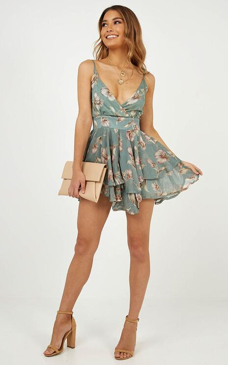 Morning Dew Playsuit In Green Floral