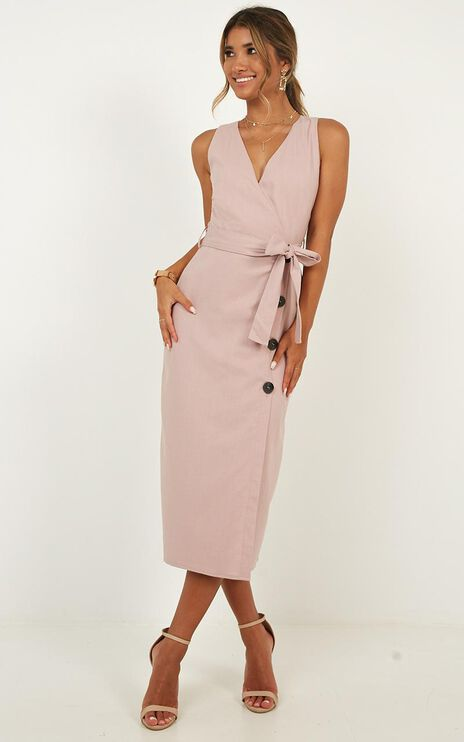 Out Of Office Dress In Blush Linen Look