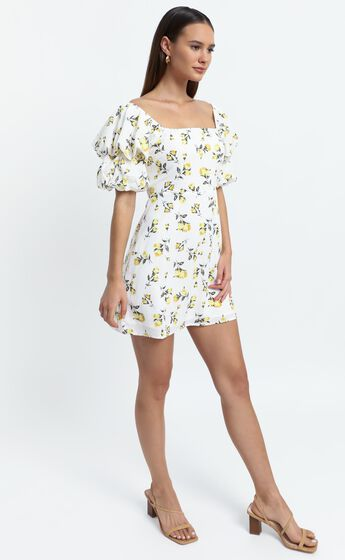 Parisian Spring Dress in White Floral