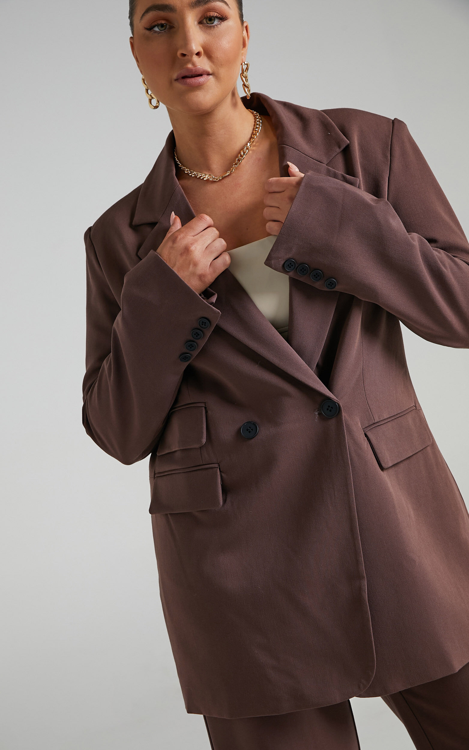 Kitty Oversized Blazer in Chocolate - 04, BRN2, super-hi-res image number null