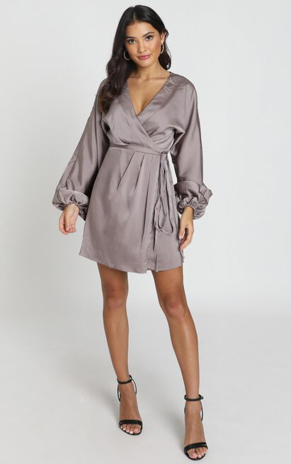 Kassandra Long Sleeve Mini Dress in taupe satin - 6 (XS), Taupe, hi-res image number null