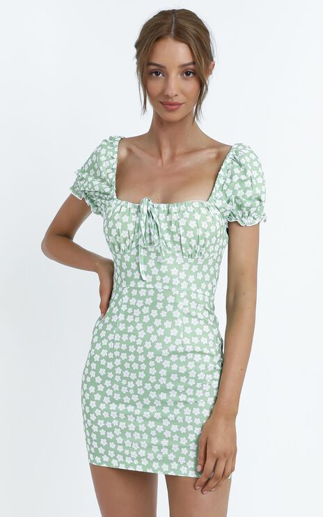 Carolina Dress in Green Floral