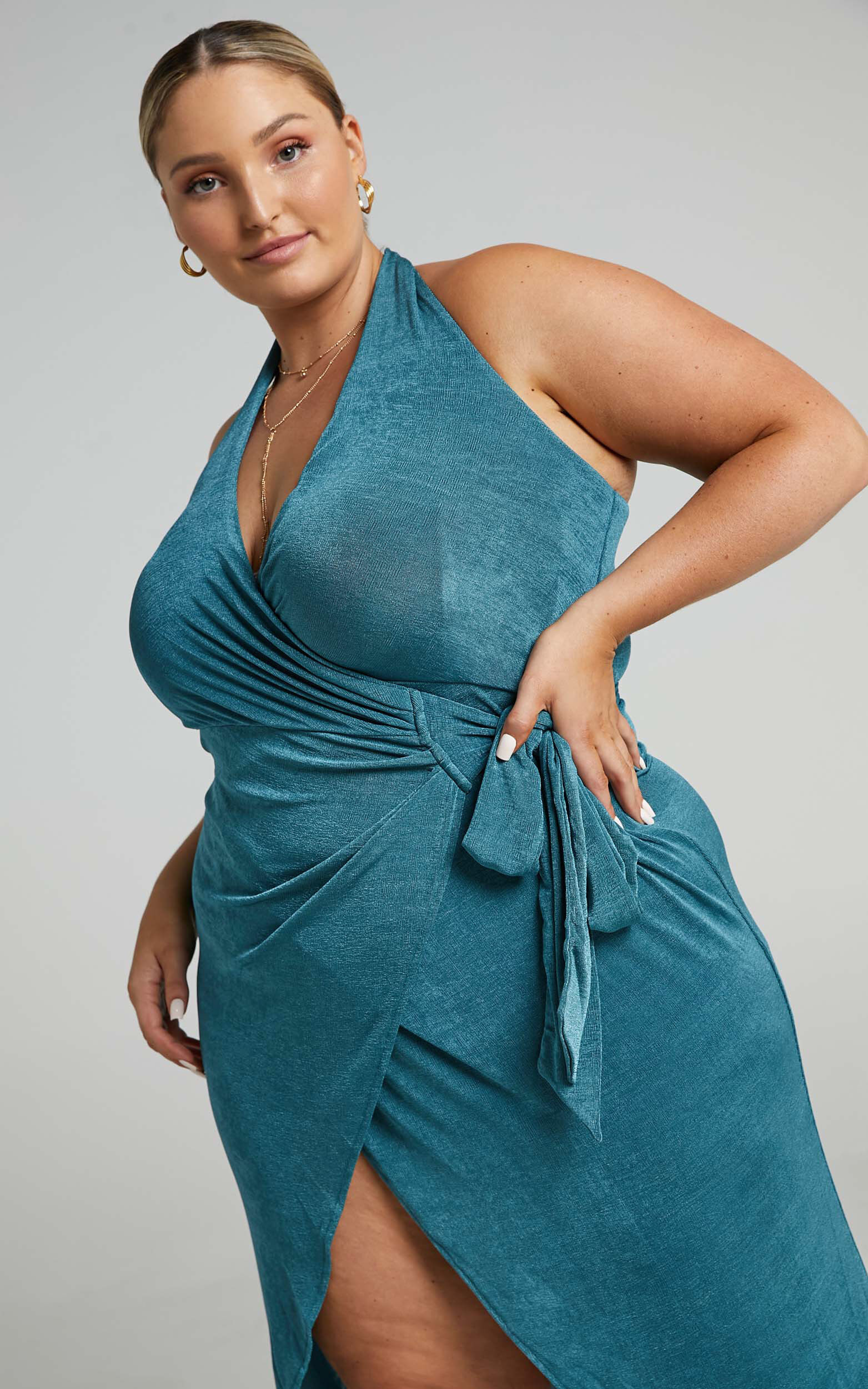 Tracee Halterneck Wrap Dress in Emerald - 04, GRN3, super-hi-res image number null