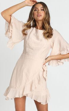 Fleur Crinkle Chiffon Dress in beige