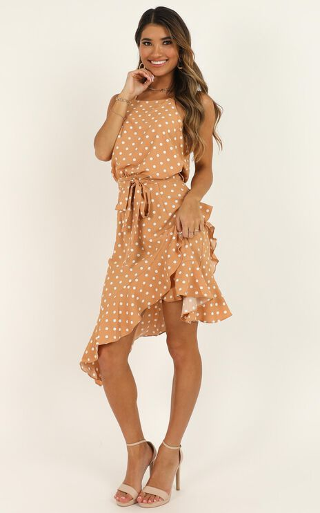 Shes So Curious Dress in Tan Spot
