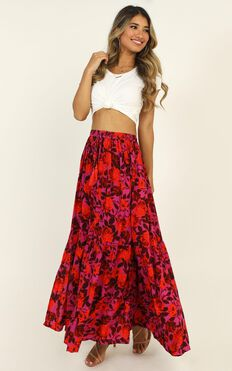 Off To Bali Skirt In Pink Print
