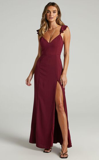 More Than This Ruffle Strap Maxi Dress in Wine