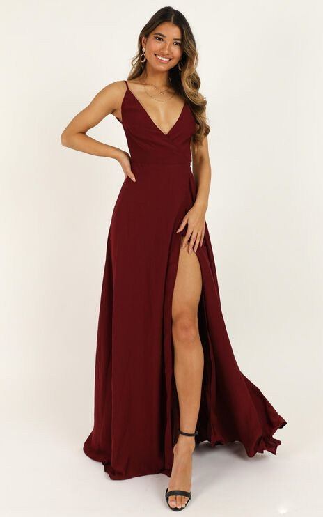 Starry Eyes Sparkling Dress In Wine Satin