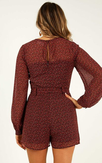 Time Well Spent Playsuit in wine floral - 18 (XXXL), Wine, hi-res image number null