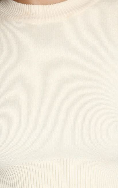 Jeni Cropped Knit Jumper in Beige - S, Beige, hi-res image number null