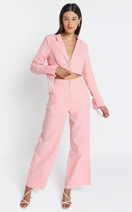 Kalina Pants in Pink Check