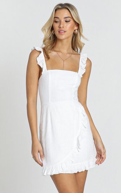 Call It Out dress in white linen look - 20 (XXXXL), White, hi-res image number null