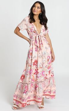 Rellie Tie-Front Maxi Dress In Pink Floral